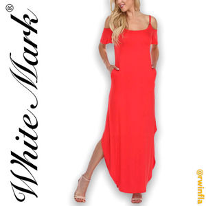 White Mark Lexi Cold Shoulder Maxi Dress Large Red
